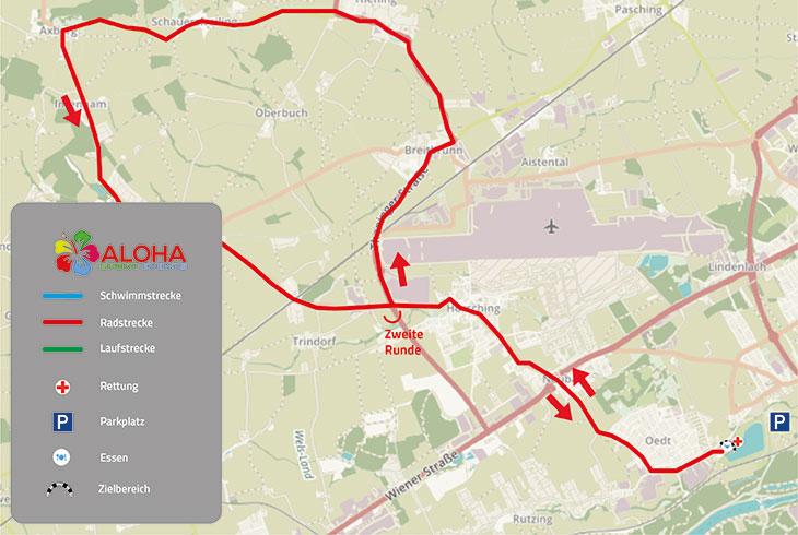 ALOHA TRI Traun Radstrecke Olympische Distanz