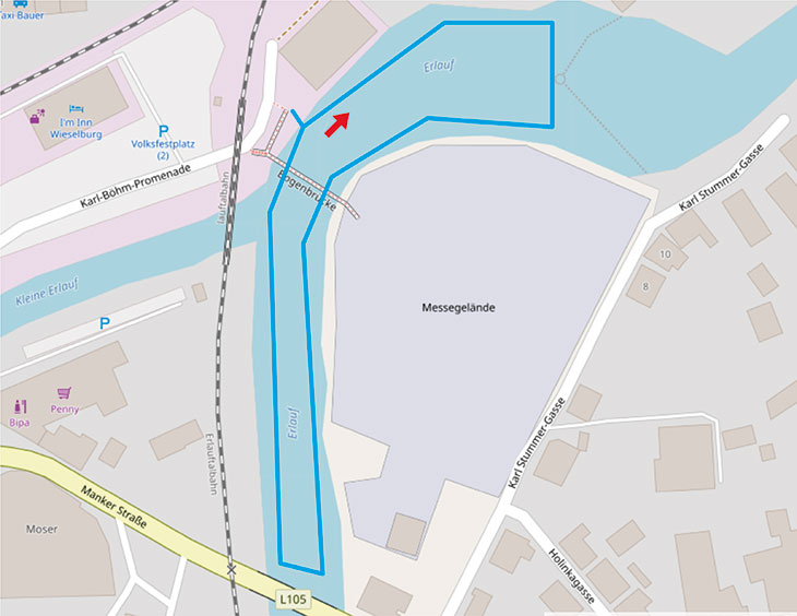 Schwimmstrecke ALOHA TRI Wieselburg