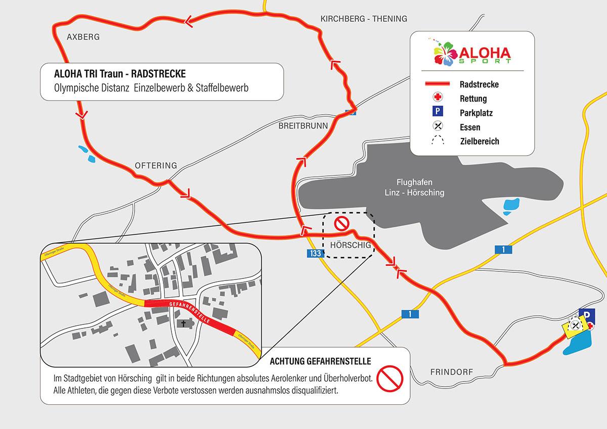ALOHA TRI Traun – Die Radstrecke